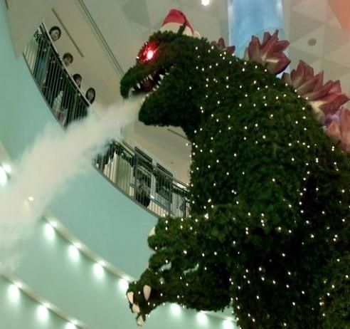 Giant Godzilla Christmas Tree Spruces Up Tokyo Mall Godzilla
