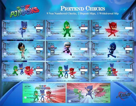 PJ Masks Pretend Play Checks PJ Masks Printables Party