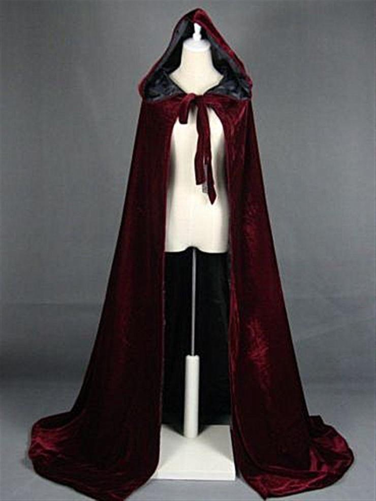 Wine Red Velvet Hooded Cloak Wedding cape Halloween Wicca Medieval Robe Coat