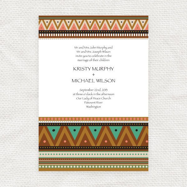 Items similar to printable wedding invitation neon tribe pattern multicoloured bright fun birthday party invite zig zag geometric instant download on Etsy