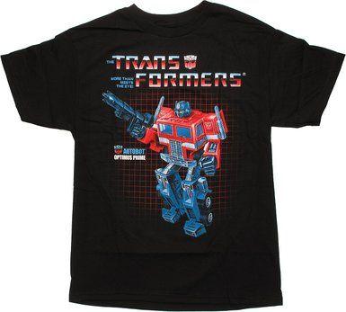 Transformers Optimus on Grid Black T-Shirt- Small