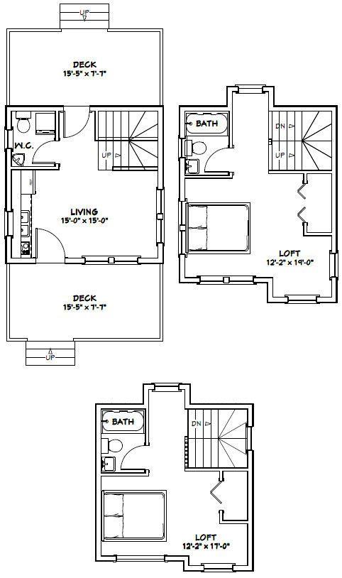 16x16 House 2 Bedroom 2 5 Bathrooms Living Room Kitchen