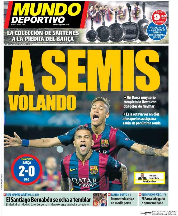 El Barça a semifinales, hoy Derbi de Champions portadas