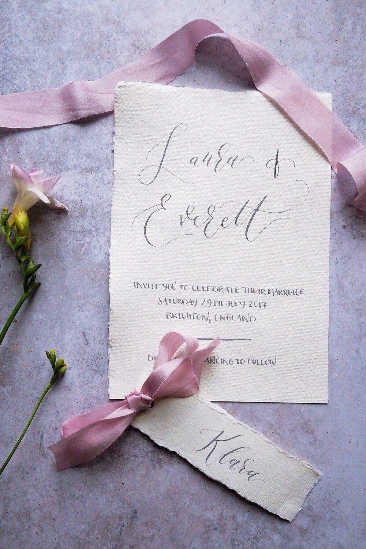 Bespoke wedding invitation on handmade paper. Organic calligraphy ...