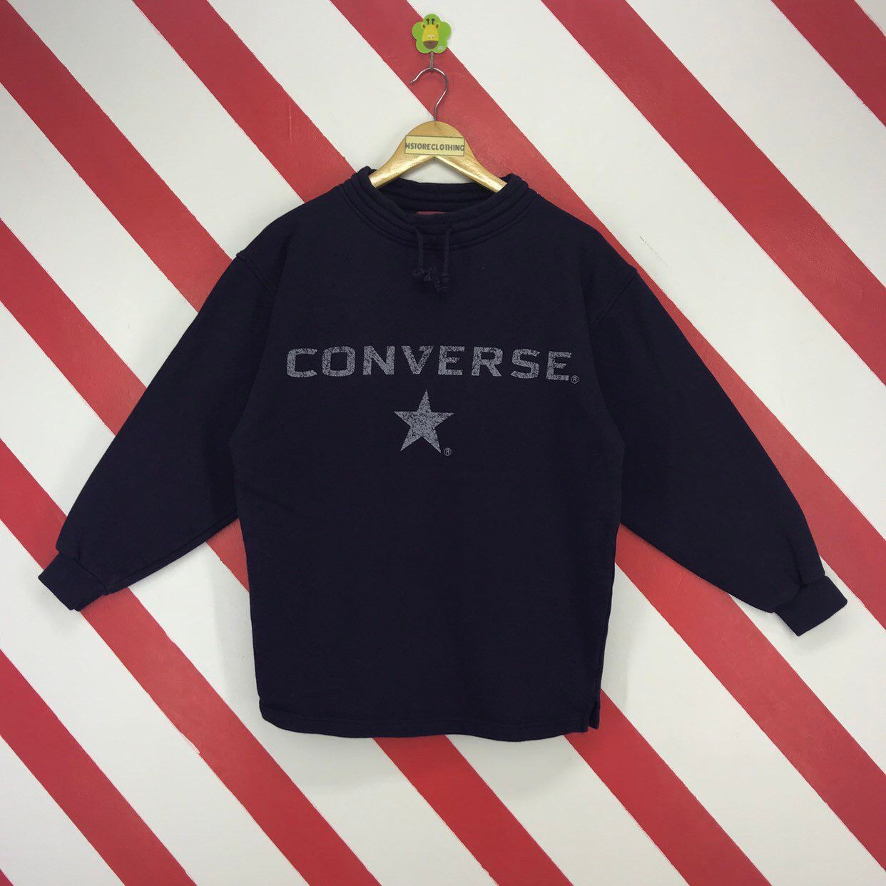 32e2a029793a ... shop  Vintage 90s Converse Sweatshirt Converse All Star USA Sweater  Crewneck Converse Streetwear Jumper Big Logo Printed Navy Blue Size Medium   clothing ...