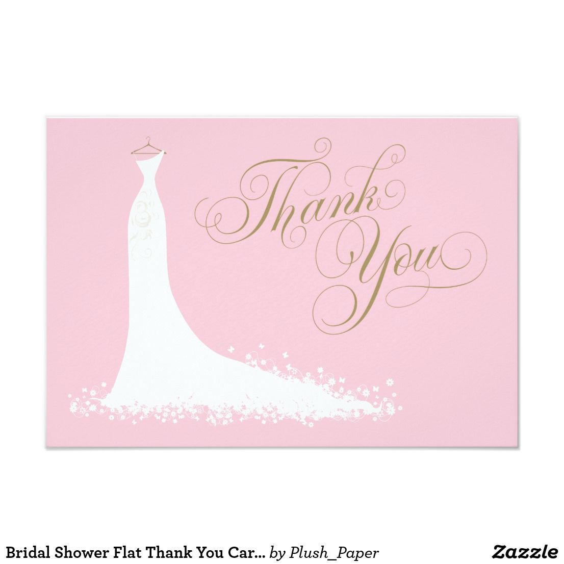 Bridal Shower Flat Thank You Cards Wedding Gown Bachelorette