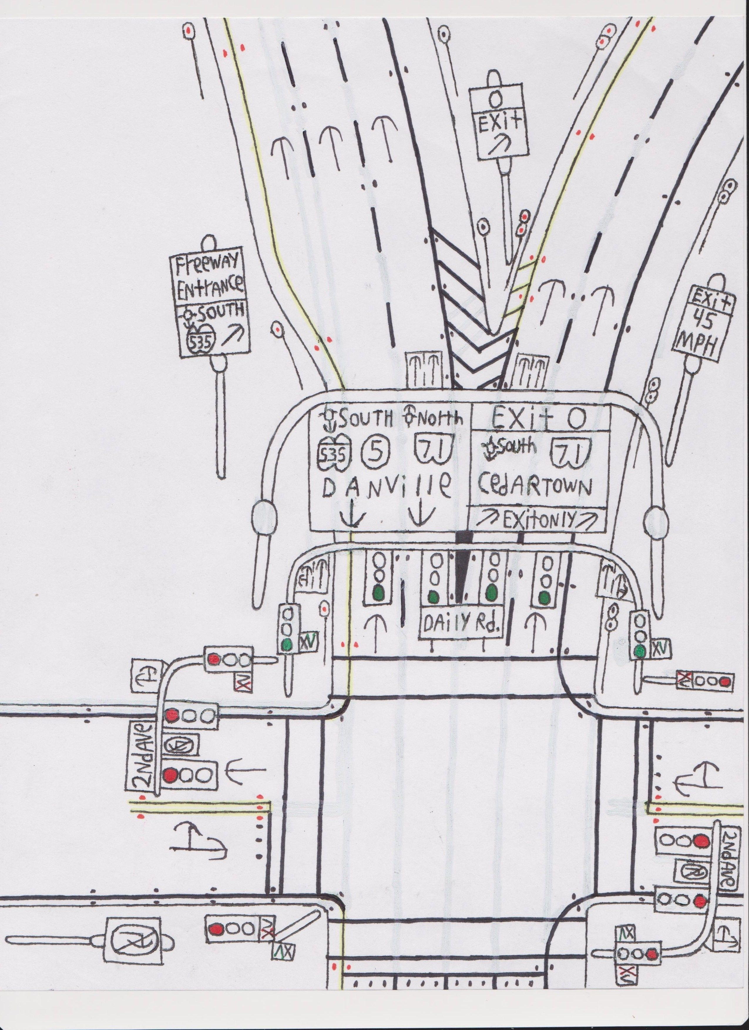 Traffic light, beginning of freeway. | Road Drawings Stuff ...