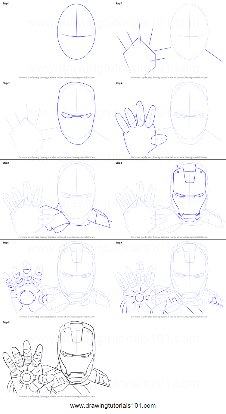 How to Draw Iron Man Face Printable Drawing Sheet by ...