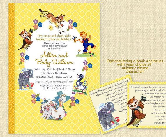 Baby Shower Nursery Rhyme Storybook Invitation Book Invite Boy Or Printable