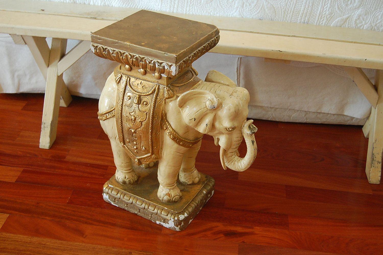 Vintage Cream and Gold Elephant Garden Stool at Retro Daisy Girl ...