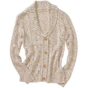 Faded Glory Women's Shawl Collar Sweater Cardigan  **Size M, Color Brown Cafe Marl**
