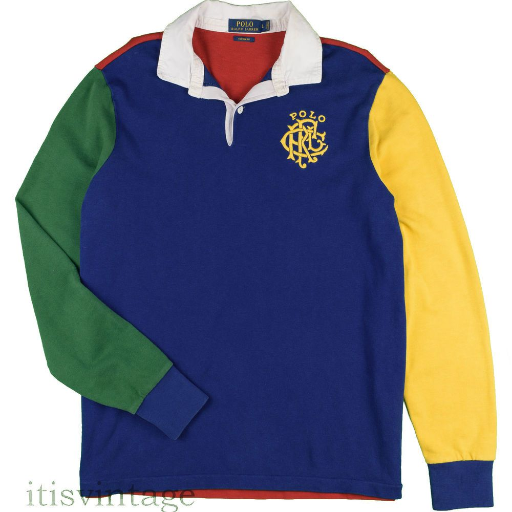 2236f90f9d9 Polo Ralph Lauren Shirt Retro Color Block Scribble Crest Large Rugby Spell  Out L #PoloRalphLauren #PoloRugby #itisvintage
