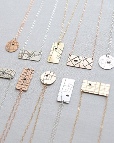 Engraved Personalized Map Necklace >>> For more information, visit image link. (Amazon affiliate link)