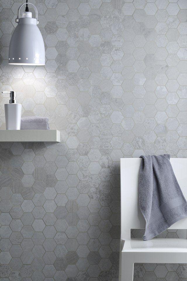 Feinsteinzeug-fliesen Wand Bad Weiß Grau Sechsecke Metalbax ... Feinsteinzeug Fliesen Wand