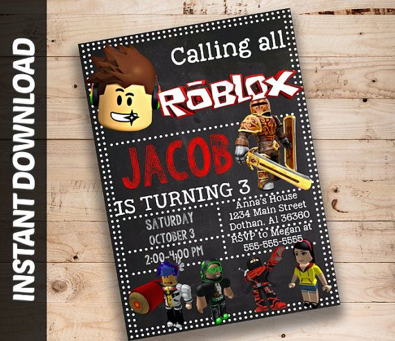 Roblox Editable Invitation Instant Download Printable Birthday Ticket Block Pixels DIY Party Personalised