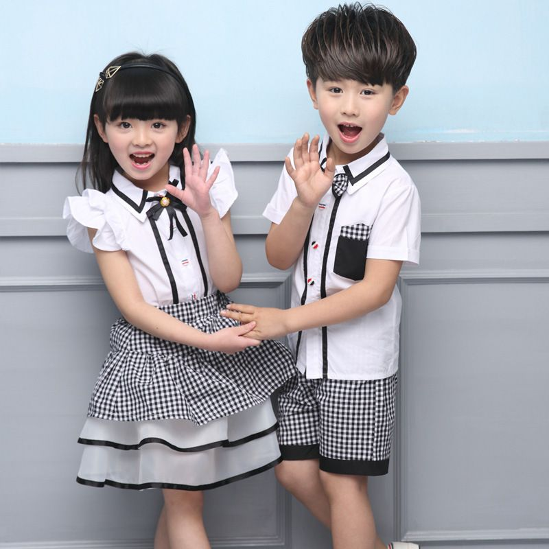 177d0dcb56 2017 Hot Sale New Summer Dress Uniforms Wholesale Support Custom Garden Boy Girl  Dress Set Two Piece British Style Sub  Affiliate