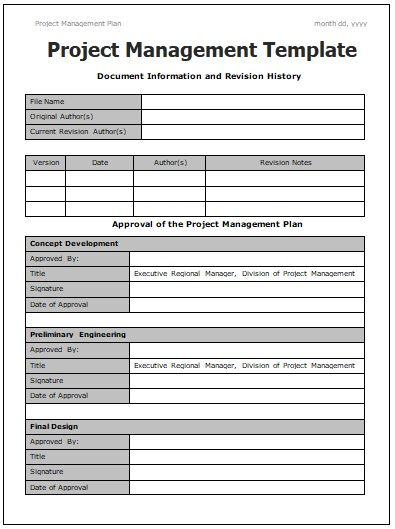 Project management templates 4 printable word and pdf for Project management manual template