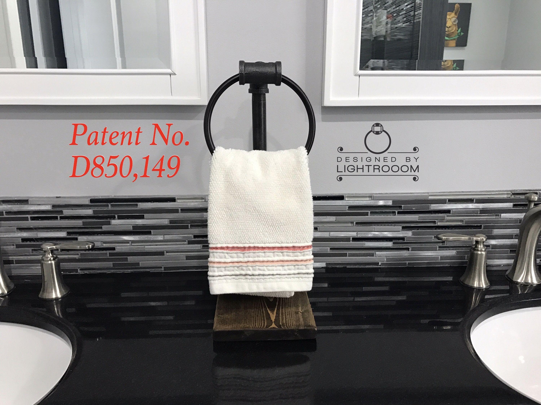 Hand Towel Ring Stand Towel Ring Industrial Rustic Bathroom Decor Guest Bathroom Towel Holder Handmade Modern Pat Hand Towels Towel Rings Towel Holder