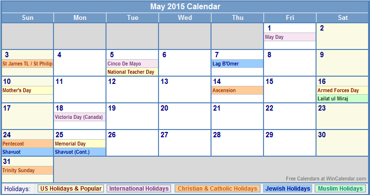 2015 calendars | May 2015 Calendar with US, Christian ...
