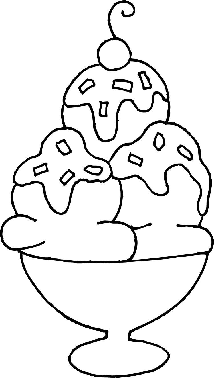 Triple Ice Cream Sundae Coloring Pages Ice Cream Coloring Pages Free Coloring Pages Truck Coloring Pages