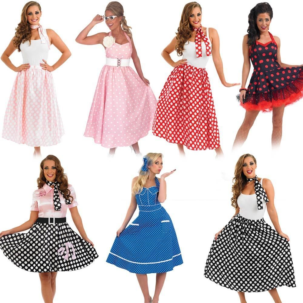 730e7fbcee56 50s Fancy Dress - Ladies 1950s Costume Womens Rock N Roll Polka Dot Outfits  #FunShack #CompleteOutfit