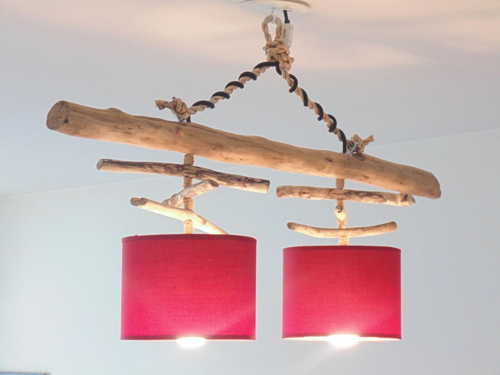 Lustre plafonnier en bois flotté rouge 20 cm création unique