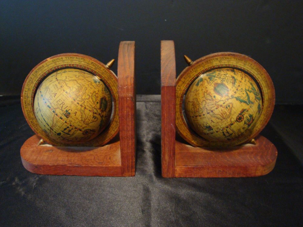 Vintage old world map globe spinning book ends made in hong kong vintage old world map globe spinning book ends made in hong kong publicscrutiny Image collections