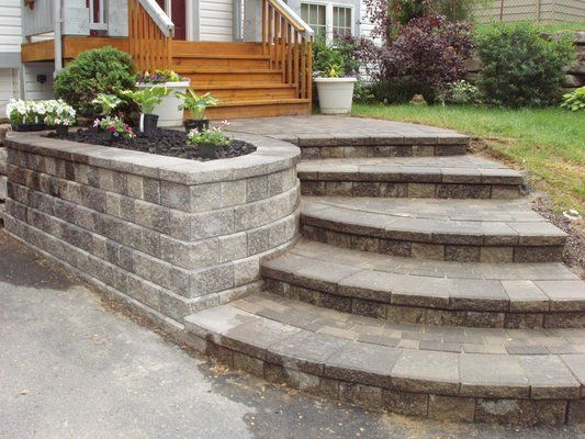 Renovated House Entrance Way New Retaining Wall Walkway And Paver Steps In The Rochester R Landscaping Retaining Walls Front Yard Walkway Outdoor Walkway