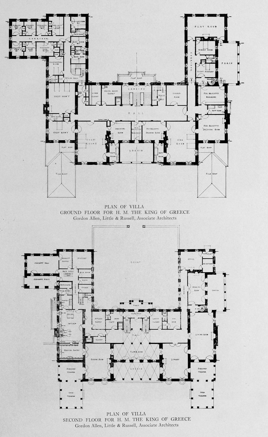 Floor Plans For A Villa For The King Of Greece Floor