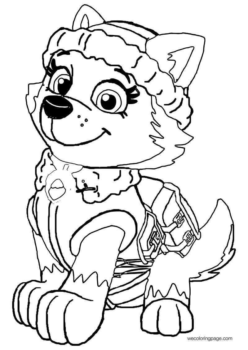Cute Girl Paw Patrol Snow Dog Coloring Page Paw patrol