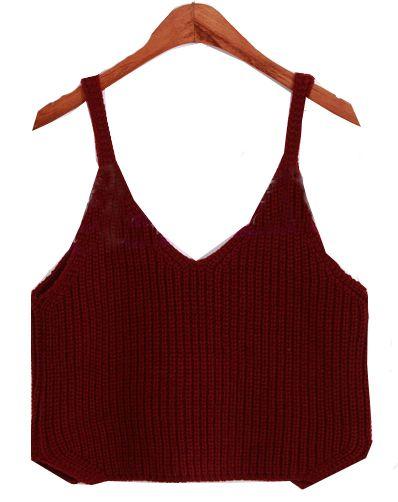 a02b5946 Spaghetti Strap Crop Knit Wine Red Cami Top | elegance | T shirt ...