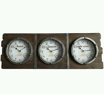 Large Vintage Driftwood Three Time Zone Wall Clock London Paris New