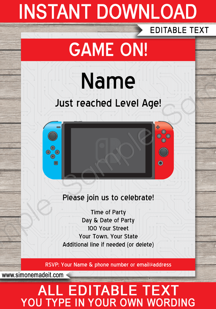 Nintendo Switch Party Invitations Template Party Invite Template Nintendo Invitation Nintendo Party