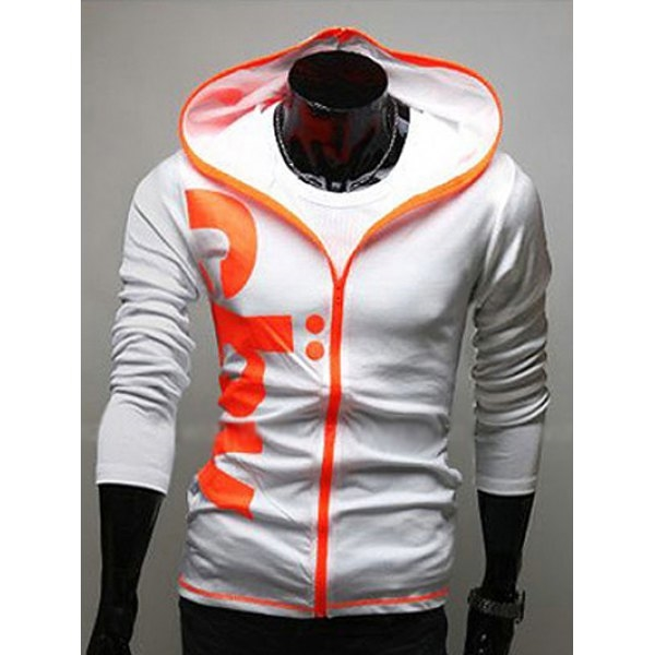 17.58$  Watch here - http://di9j1.justgood.pw/go.php?t=199555706 - Contrast Zip Slim Fit Graphic Hoodie 17.58$
