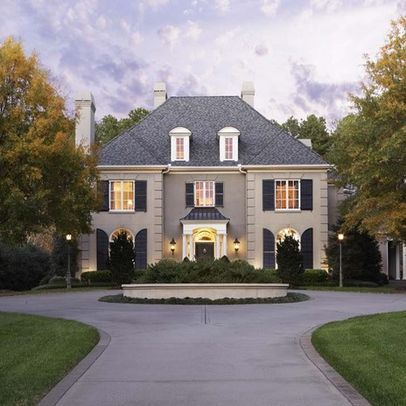 beautiful french country house with wonderful gray black and white color scheme - Country Home Exterior Color Schemes