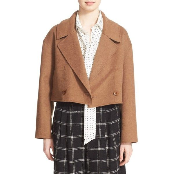 Women's Tibi Wool & Angora Crop Jacket ($795) ❤ liked on Polyvore featuring outerwear, jackets, topaz brown, cropped jacket, tibi jacket, angora jacket, double breasted jacket and brown wool jacket