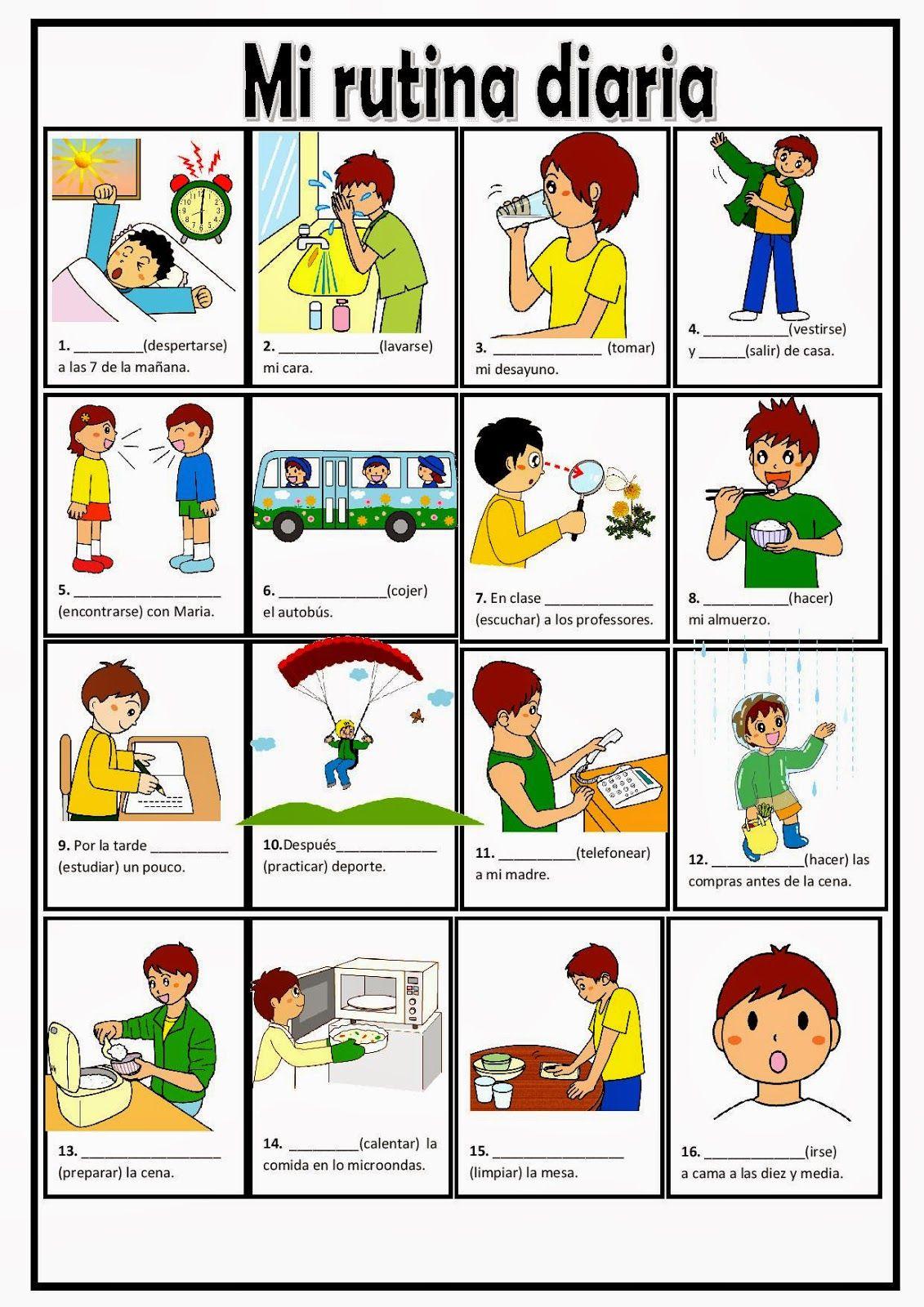 Mi Rutina Diariaconjugar Verbos Page 001 Picture