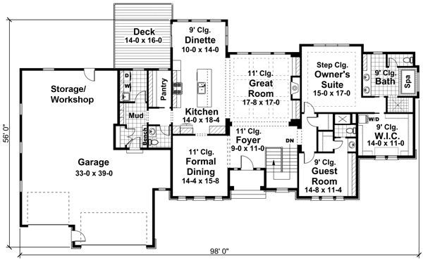 Home Suited Floor Plan For Narrow Lots Floor Plans Bungalow Floor Plans Garage House Plans Bungalow Style House Plans