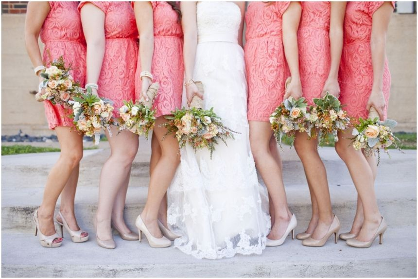 dallas wedding photographer, coral bridesmaid dresses, wedding bouquets, bridal party bouquets, Mary Fields Photography