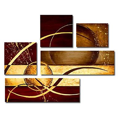 Hand-painted Abstract Oil Painting with Stretched Frame - Set of 5 - cuadros minimalistas