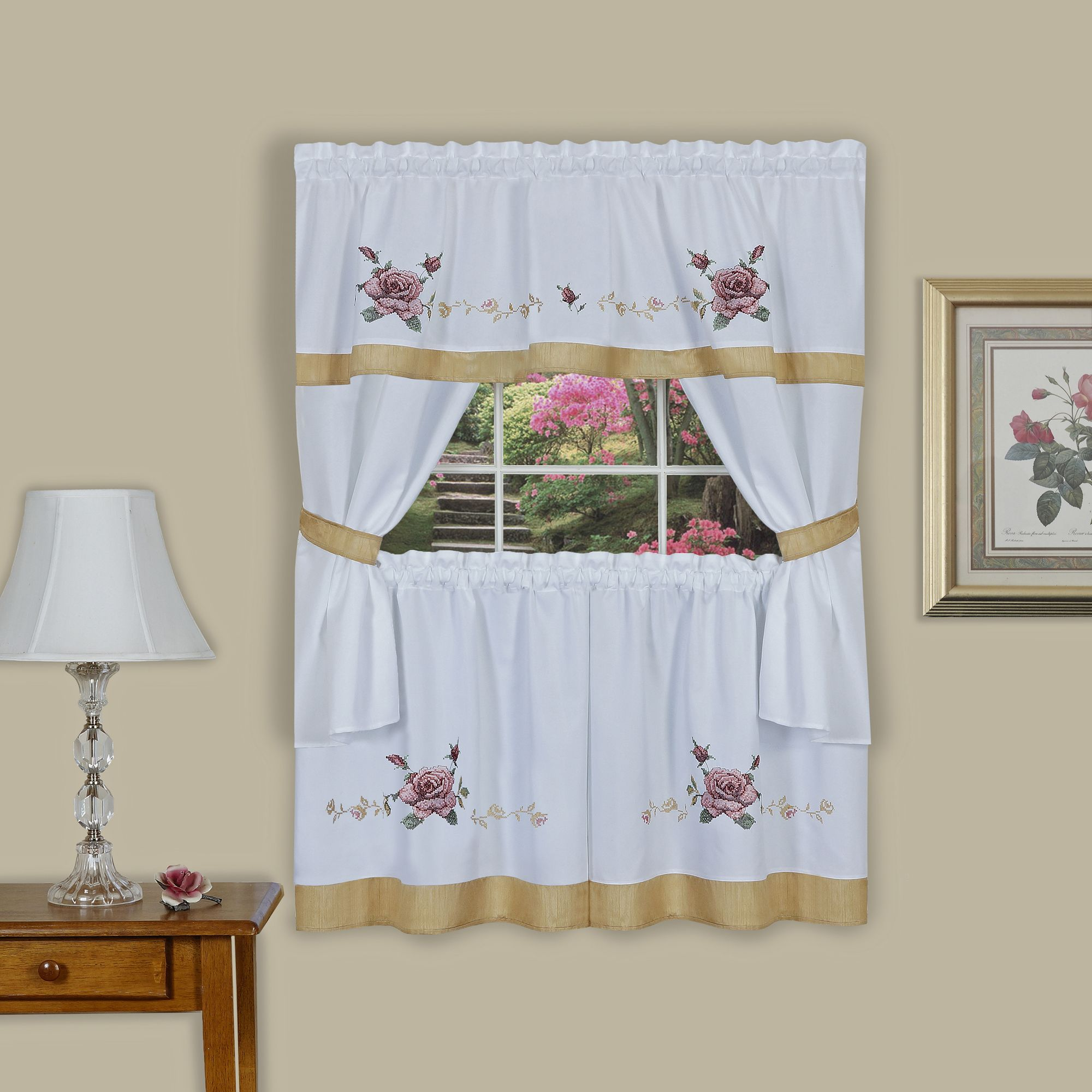 Achim Importing Co Rose Embellished Cottage Window Curtain Set