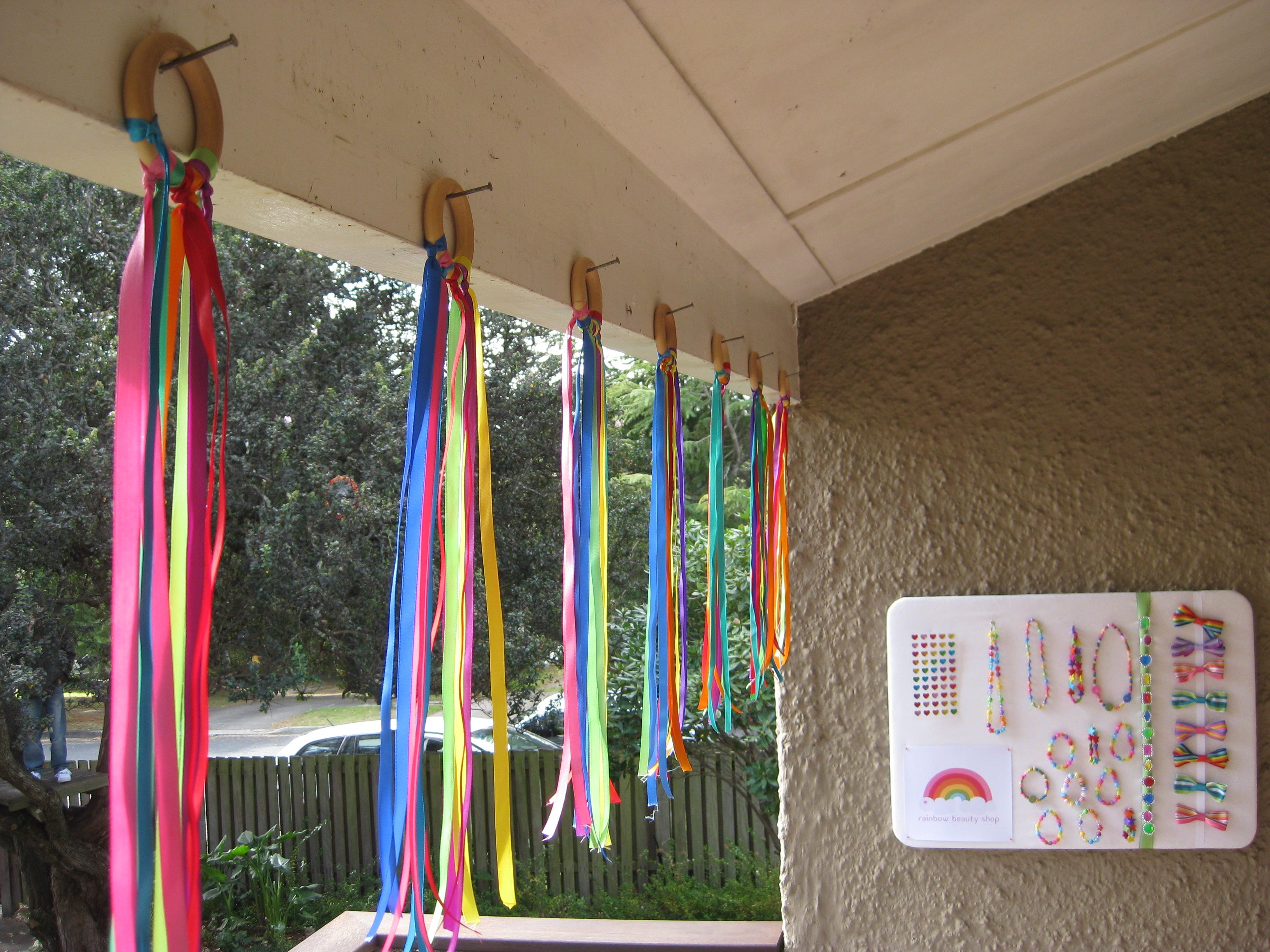 Rainbow Streamers Used As A Colourful Decoration Prior To Play Time Raw Wooden Curtain Rings From Preschool Displays Colorful Decor Childrens Birthday Party
