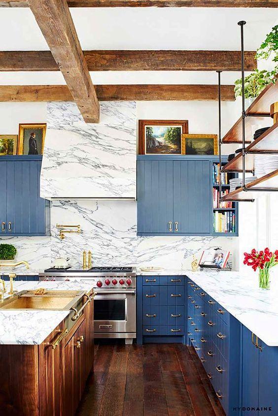 Farmhouse Style 30 Blue and White Kitchens to Inspire White