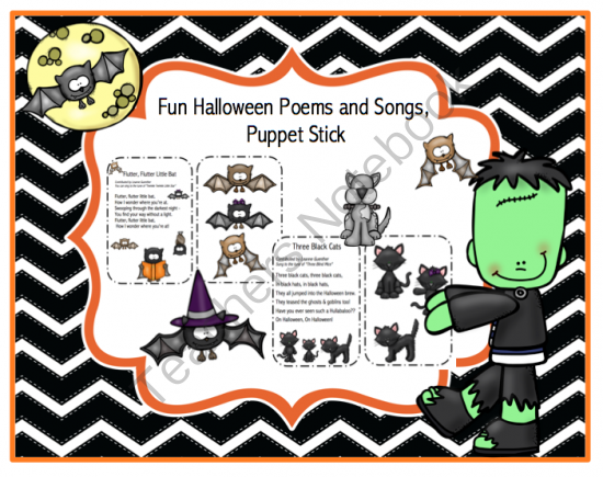 Fun Halloween Songs and Poems Plus Puppet Sticks from Preschool Printables on TeachersNotebook.com -  (10 pages)  - Fun Halloween songs and puppet sticks!