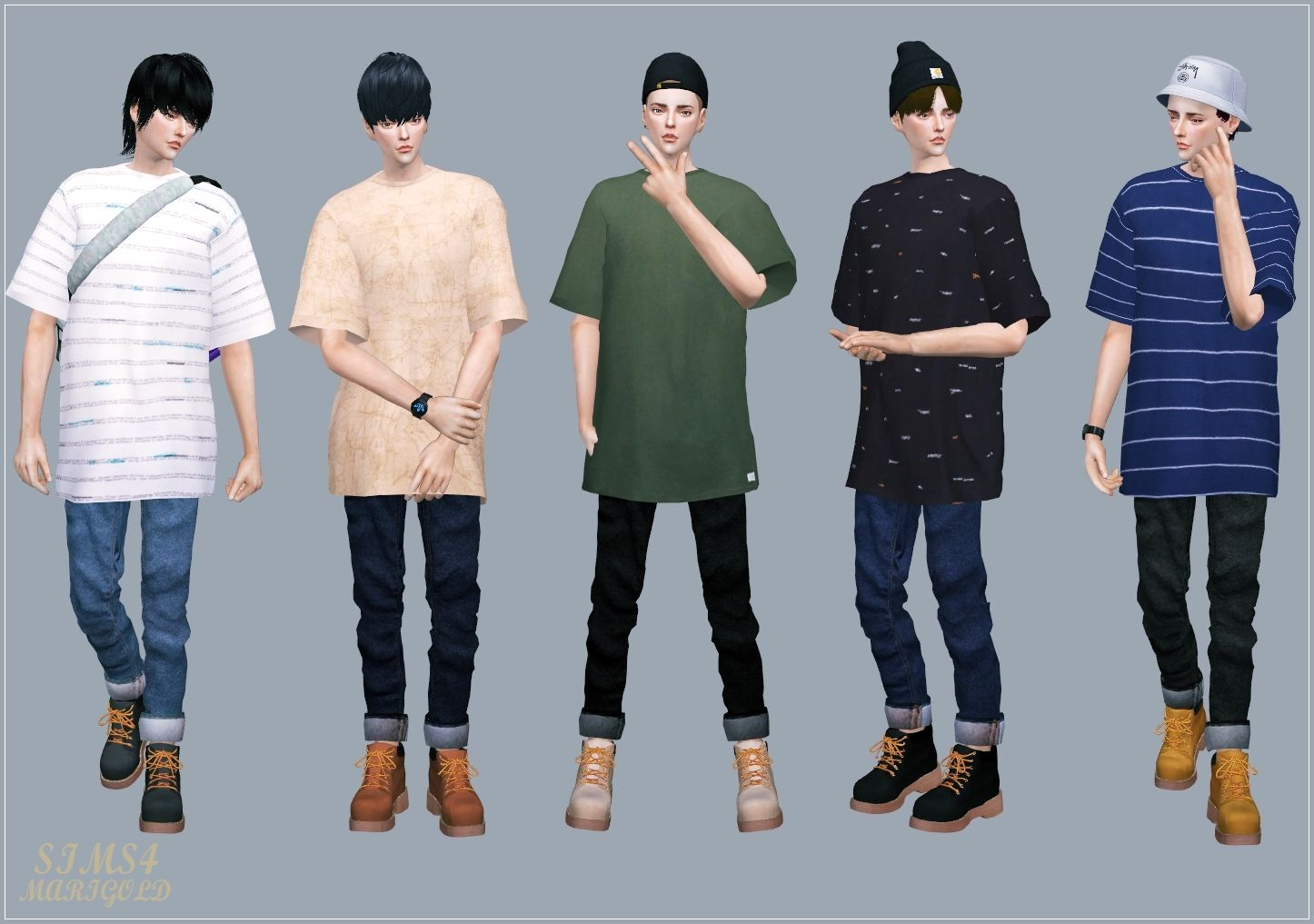 T Shirts, Jeans and Boots for Males by Marigold | Sims4