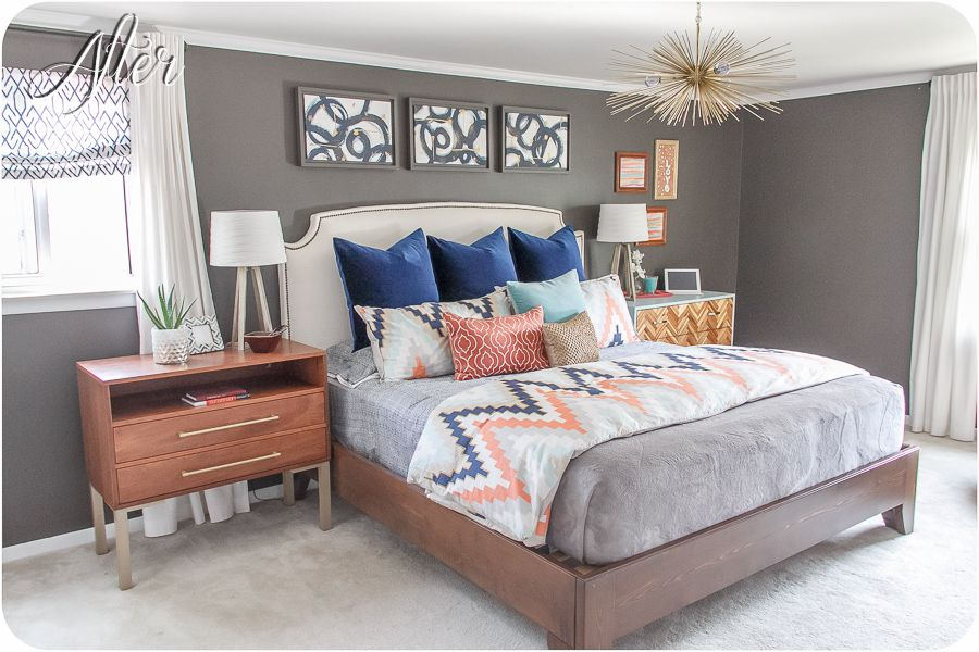 Love this bedroom color scheme navy coral light - Turquoise and gray bedroom ideas ...
