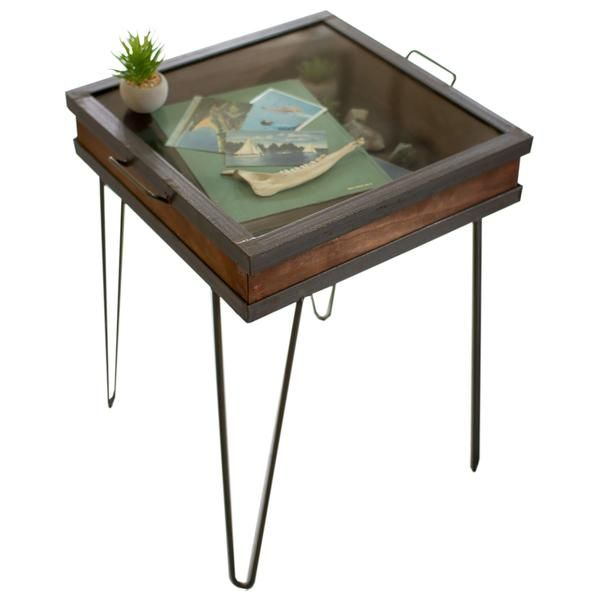 Retro Mid Century Industrial Modern Hairpin Shadowbox End Table