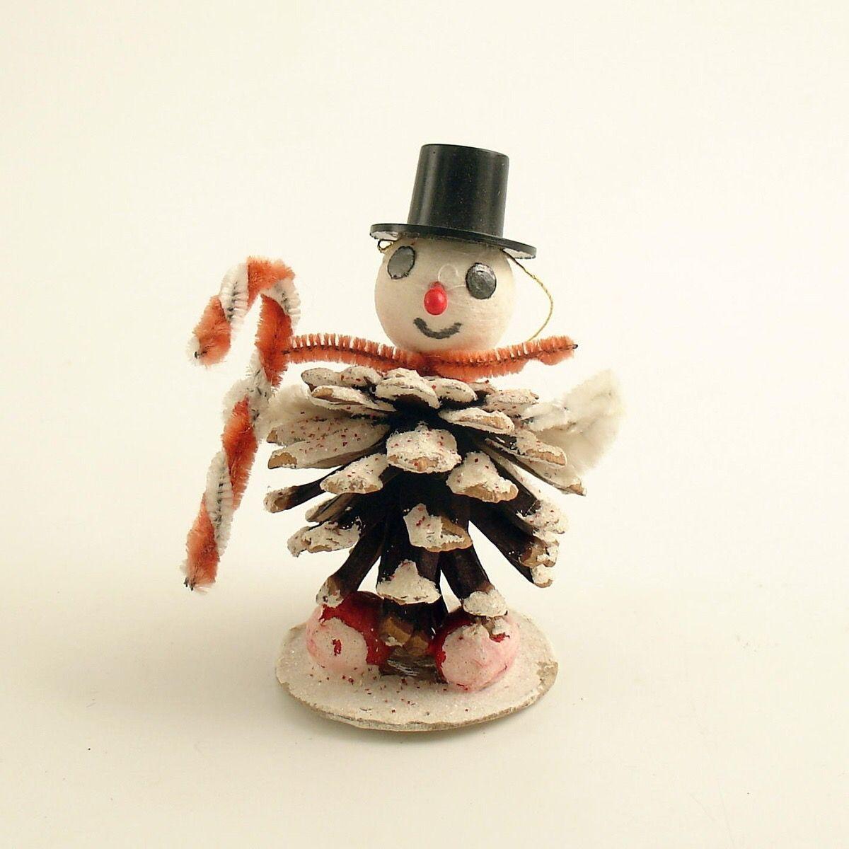 Vintage Pinecone Snowman Vintage Christmas Vintage Christmas Ornaments Vintage Christmas Decorations