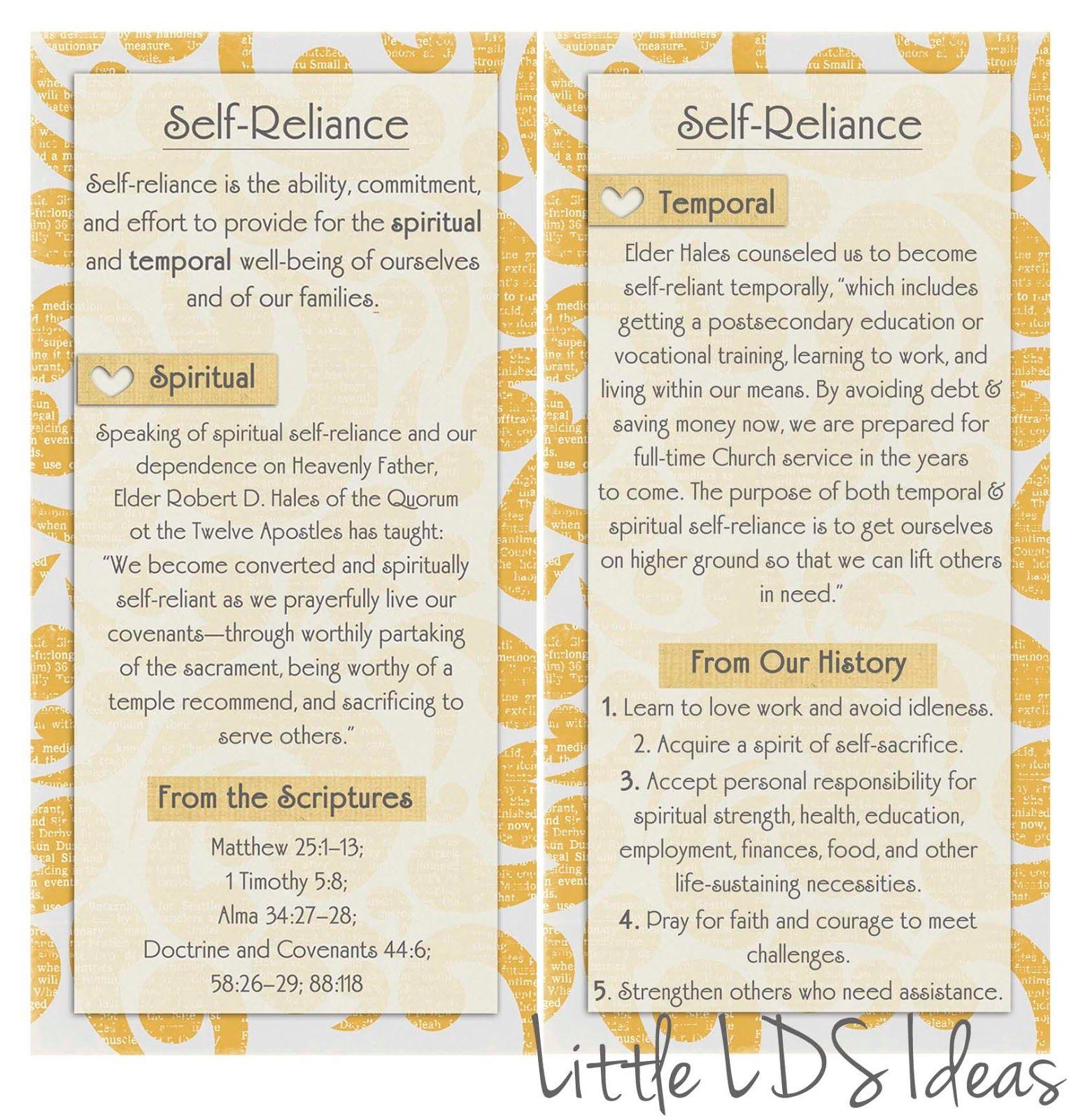 Mormon Share September Vt Message Printable Self Reliance