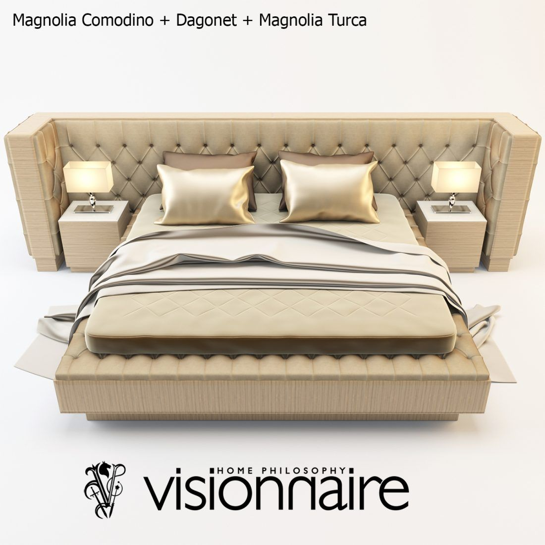 3d Magnolia Comodino Bed Model 165 Free Download In 2020 Bed
